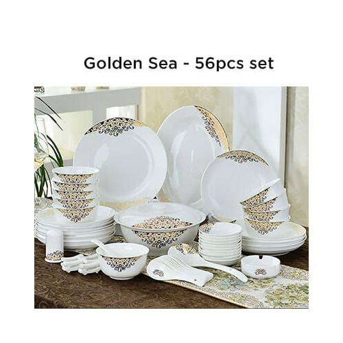 European Lourve Dinnerware Golden Sea 56Pcs set