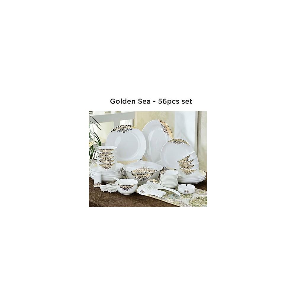 European Lourve Dinnerware Golden Sea 56Pcs set