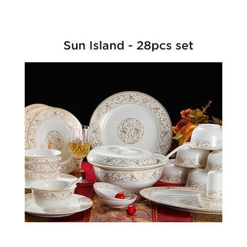 European Lourve Dinnerware Sun Island 28Pcs set