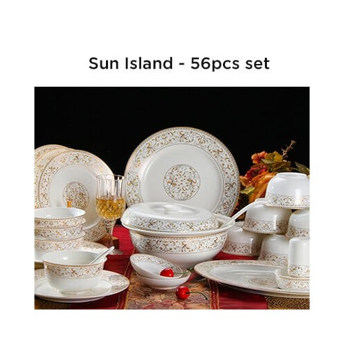 European Lourve Dinnerware Sun Island 56Pcs set