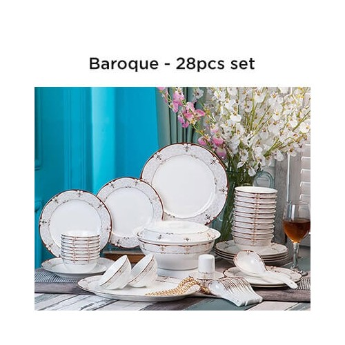 European Lourve Dinnerware Baroque 28Pcs set