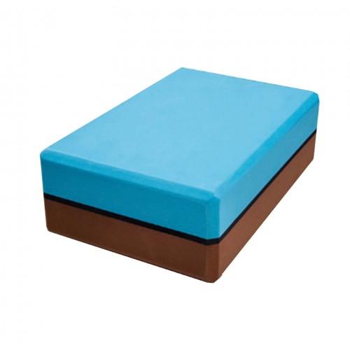 Premium Dual Color 3 Inch Yoga Block (Blue/Brown)