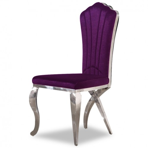 Campache III. Velvet Grand Dining Chair (Purple)