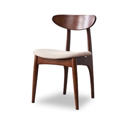 Lambert Dining Chair in Dark Walnut (Fabric Beige)