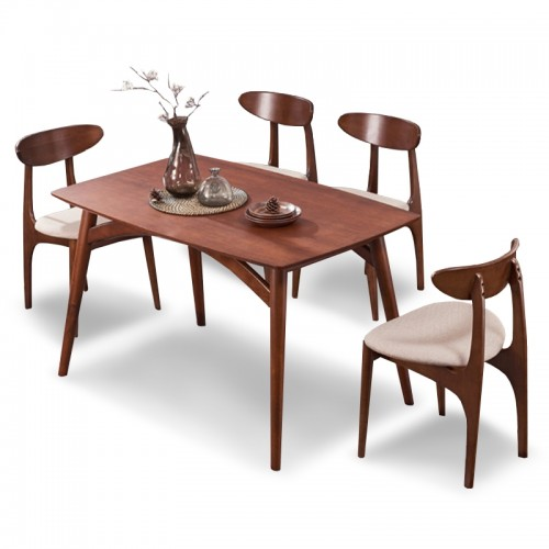Lambert Ashwood Dining Set in Dark Walnut (1+4)