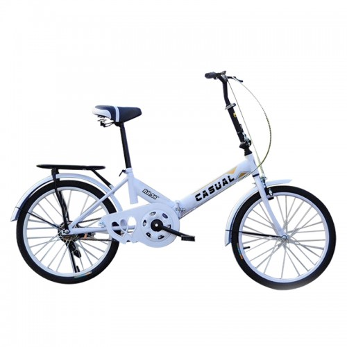 Casual Foldable Bicycle in White (20 Inch-Single Gear)