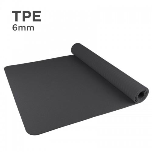 Premium TPE 6mm Yoga Mat (Solid Color) (Black)