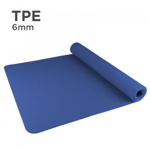 Premium TPE 6mm Yoga Mat (Solid Color) (Navy)