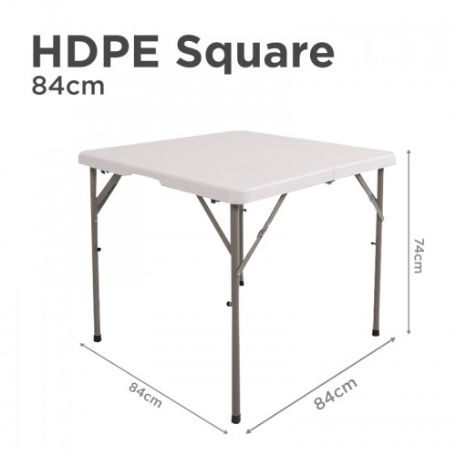 HDPE Square Folding Table in 84cm