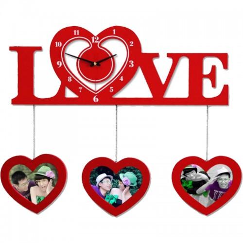 Classic Love Photoframe Hanging Wall Clock