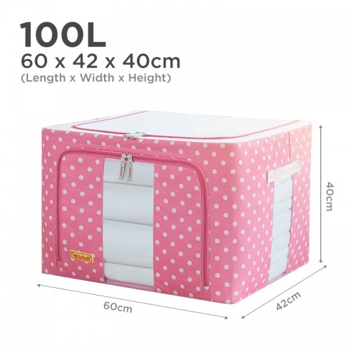 Oxford Cloth 100L Folding Storage Closet Organizer (Pink)