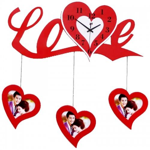 Stylish Love Photoframe Hanging Wall Clock