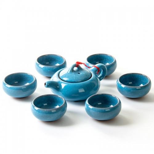 Basic Ceramic 6PCs Teapot Set (Blue)