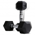 Rubber Coated Hex Dumbbell (1-40KG) with Contoured Chrome Handle