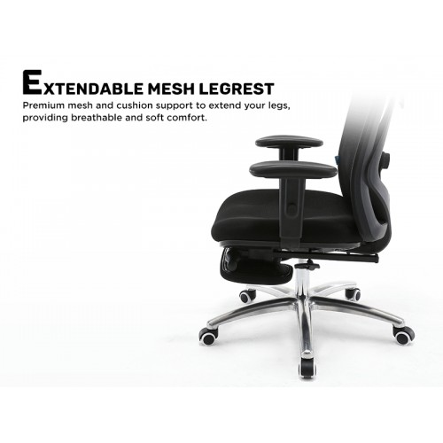 ASAMI Office Chair with Leg Rest (Black)