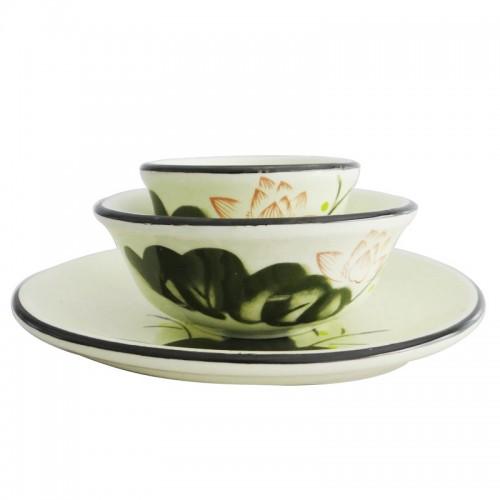 Chinese Lotus Ceramic 4 Pcs Soupware【荷趣】