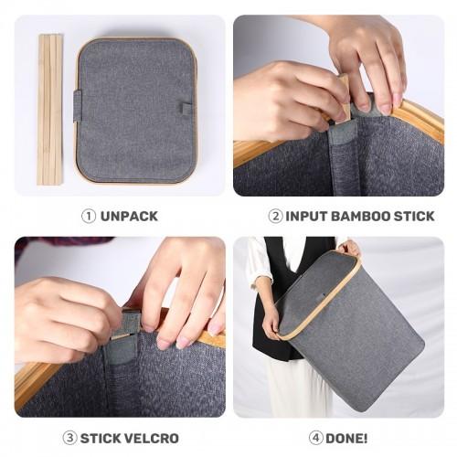 NAAVA Bamboo Laundry Basket (Dark Grey)