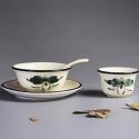 Chinese Lotus Ceramic 4 Pcs Soupware Set【绿植】