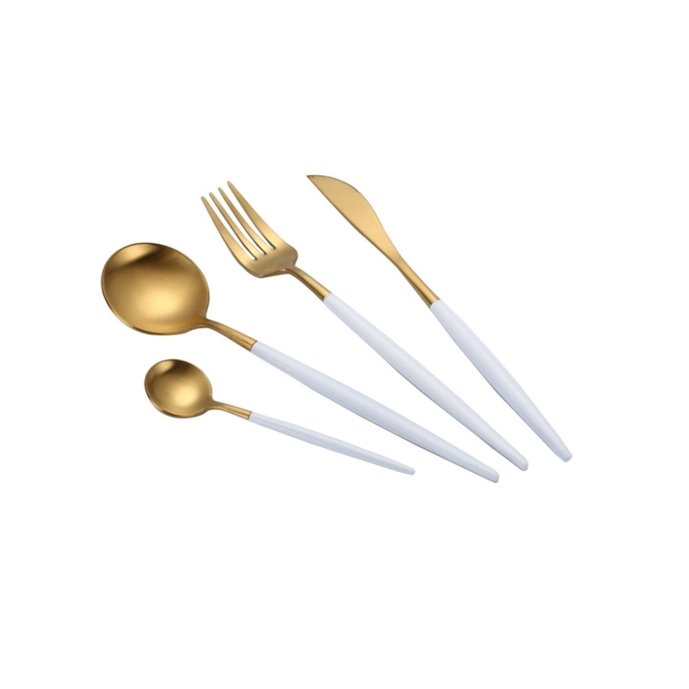 Portugal Deluxe 304 SS 4 Pcs Dining Cutlery (White+Gold)