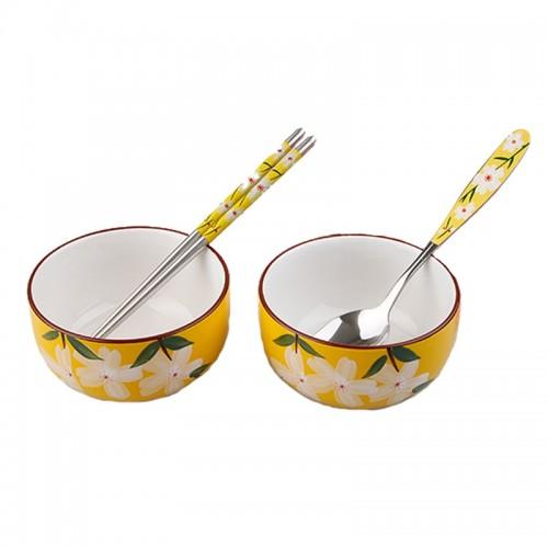 Hand-Painted Floral Ceramic Dishware Set 【如意雅品】