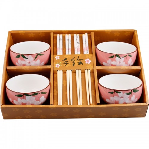 Hand-Painted Floral Ceramic Dining Set - pink