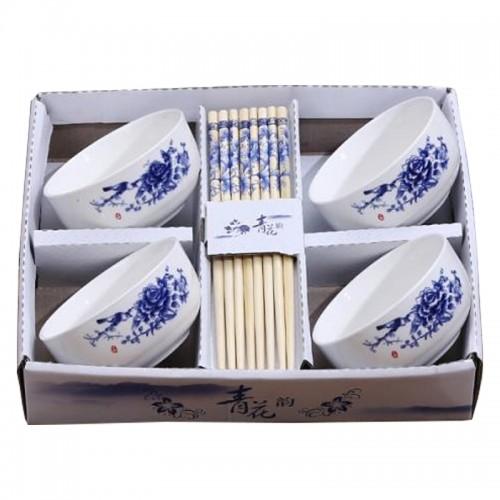 Japanese Ceramic Elementary 4 Pcs Dishware Set【青花碗筷】