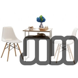 Foldable Multi-Purpose Dining Table Set (With 2 White Eames Chairs)
