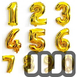 Number Balloons (Gold)