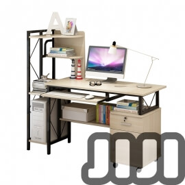 Premium Castanho Desktop Table (With Cabinets & Storage Rack)