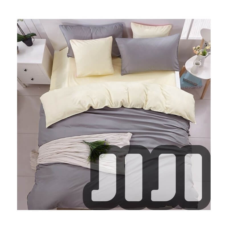4 - in -1 Grey With Cosy Cream Bedsheet Set