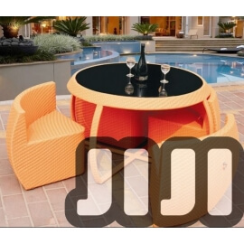 Tango Outdoor Ratten Tempered Glass Dining Table With 4 Chairs (151)