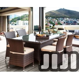 Tango Outdoor Rectange Ratten Tempered Glass Dining Table With 6 Chairs (119)
