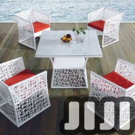 Tango Outdoor Deluxe Ratten Tempered Glass Dining Table With 4 Chairs (127)