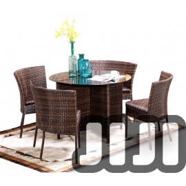 Tango Outdoor Ratten Tempered Space Saving Basic Glass Dining Table With 4 Chairs (147)