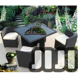 Tango OutdoorSquare Space Saving Ratten Tempered Glass Dining Table With 4 Chairs (148)