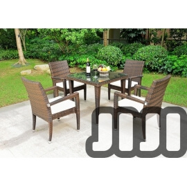 Tango Outdoor Regular Ratten Tempered Glass Dining Table With 4 Chairs (01)