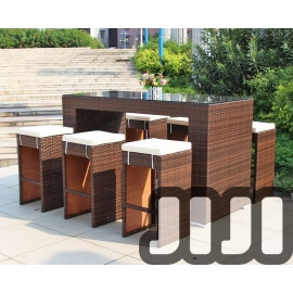Tango Outdoor Ratten Tempered Basic Glass Hight Bar Table With 6 High Stools (OFHT01)