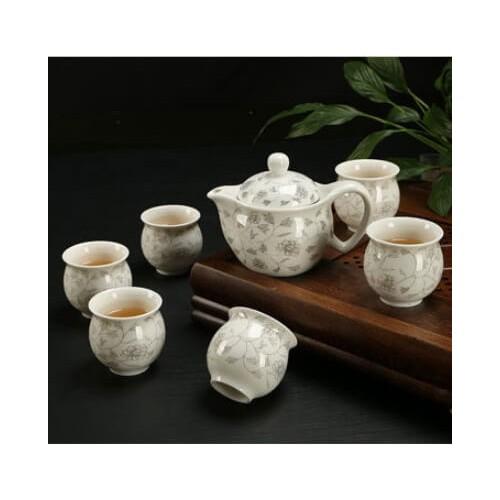 PREMIUM XL CERAMIC TEAPOT TEA CUP 6PCs SET (Design 1) -