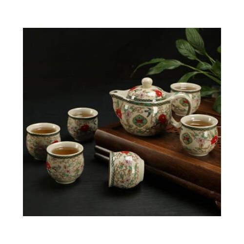 PREMIUM XL CERAMIC TEAPOT Tea Cup 6PCs SET (Design 2) Dinnerware