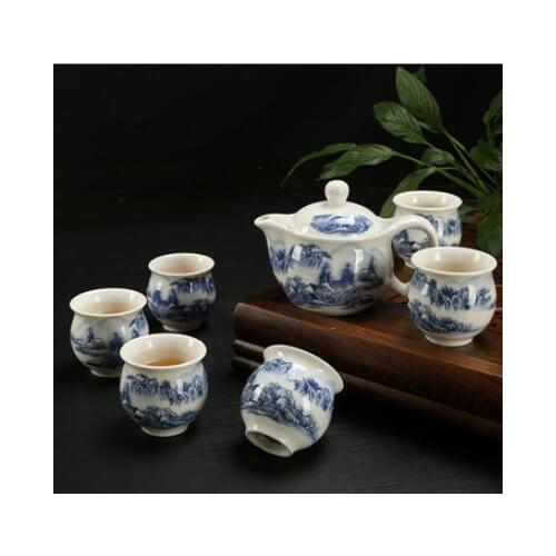 PREMIUM XL CERAMIC TEAPOT Tea Cup 6PCs SET (Design 4) Dinnerware