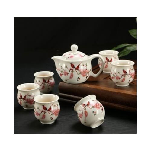 PREMIUM XL CERAMIC TEAPOT Tea Cup 6PCs SET (Design 9) Dinnerware